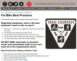IMBA's Fat Biking in Winter Best Practices