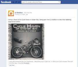 Q-Outdoor-Facebook wall post about Cycle Heaven of Oyster Bay