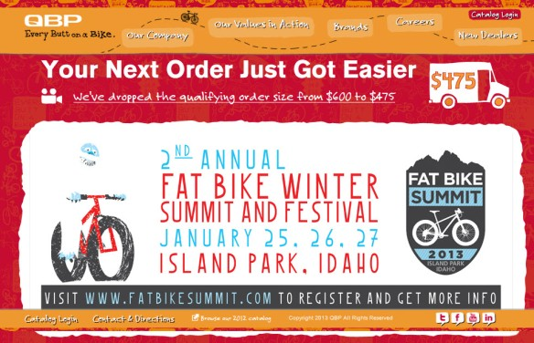 QBP home page with Fat Bike Summit poster
